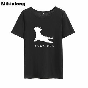 MIkialong Cartoon Dog Kawaii Funny T Shirts Women 2018 Summer Short Sleeve Cotton Tee Shirt Femme Black White Tshirt Women Tops