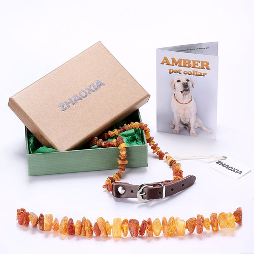 Raw Baltic Amber Flea and Tick Collar with Adjustable Leather Strap for Dogs and Cats - Lab Tested