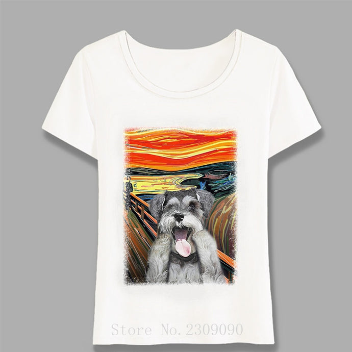 Miniature Black Schnauzer Head Print T-Shirt