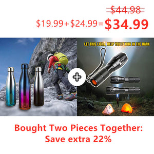 TACLIGHT FLASHLIGHT + Leak-Proof Double Walled Cola Shape Water Bottle Keep Hot&Cold (2 Pieces )