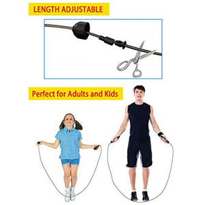 Adjustable Jumping Ropes with Memory Foam Antiskid Handles for Men, Women and Kids - 2 Pack