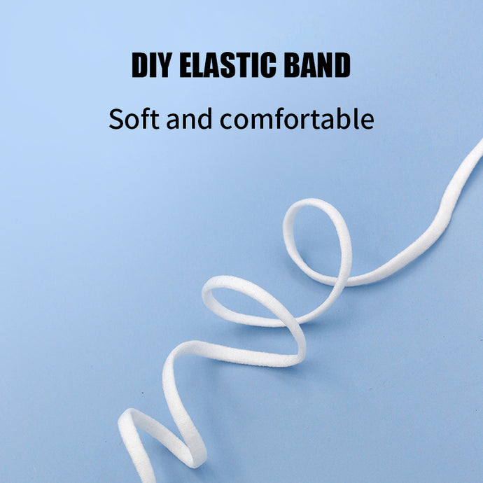 1/6 Inch(4mm)Flat Braided Elastic Cord/White Elastic Band (50 yards)