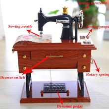 Load image into Gallery viewer, Cute Mini Sewing Machine Music Box