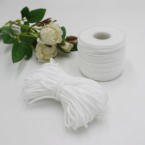 Round White Braided Elastic Cord/Elastic Band (1/8 Inch&100 metres)