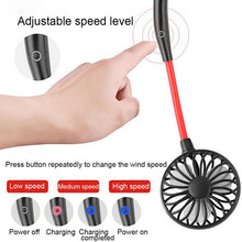 Load image into Gallery viewer, PORTABLE USB RECHARGEABLE NECKBAND FAN