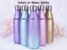 Load image into Gallery viewer, Personalized Glitter Stainless Steel Water Bottle