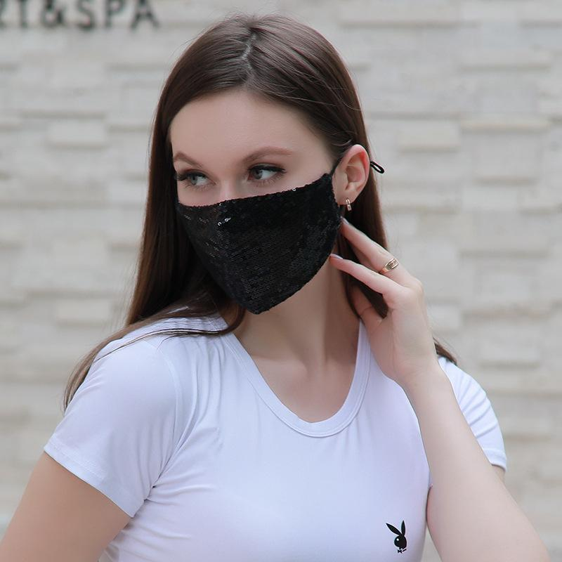 Fashion shiny Facewashable And Reusable Outdoor Sequined Cover Face-Mask