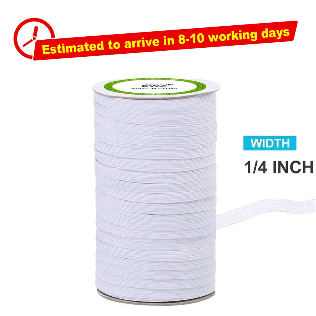 White High Quality Braided Elastic Cord/Elastic Band-50 Yard
