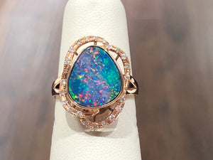 Opal and Diamond Rose Gold Ring - Q&T Jewelry