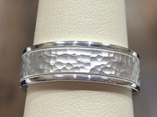 Men's 14k White Gold 7mm Milgrain Hammered Wedding Band - Q&T Jewelry