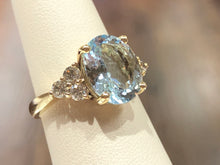 Load image into Gallery viewer, Aquamarine Oval  & Diamond Ring - Q&T Jewelry