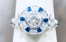 Load image into Gallery viewer, Blue Sapphire & Diamond Round Ring - Q&T Jewelry