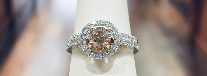 Chocolate Diamond Halo Bridal Set - Q&T Jewelry