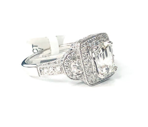 18K White Gold GIA Certified Emerald-Cut, Halo Diamond Ring - Q&T Jewelry