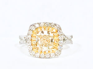 18K Fancy Yellow Diamond Halo  Ring - Q&T Jewelry
