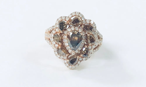 18K Pear Champagne Diamond Cluster Ring - Q&T Jewelry