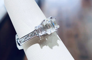 Emerald Cut Diamond Three Stone Ring - Q&T Jewelry