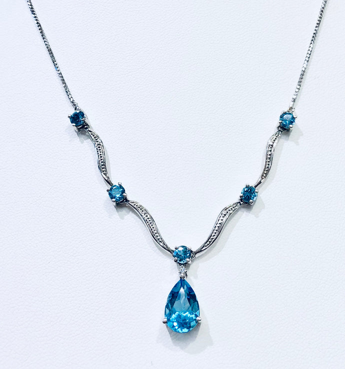 14k white gold and blue topaz drop necklace - Q&T Jewelry