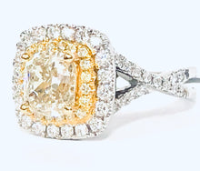 Load image into Gallery viewer, 18K Fancy Yellow Diamond Halo  Ring - Q&T Jewelry