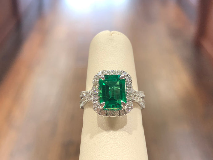 Emerald  Diamond Halo Ring - Q&T Jewelry