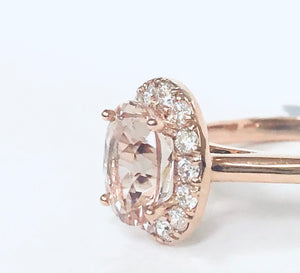 14k Rose Gold & Morganite Halo Ring - Q&T Jewelry