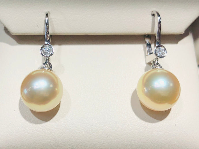 Yellow South Sea & diamond earrings - Q&T Jewelry