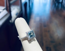 Load image into Gallery viewer, Aquamarine Princess-Cut Diamond Halo Ring - Q&T Jewelry