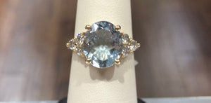 Aquamarine Oval  & Diamond Ring - Q&T Jewelry