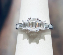 Load image into Gallery viewer, Emerald Cut Diamond Three Stone Ring - Q&T Jewelry