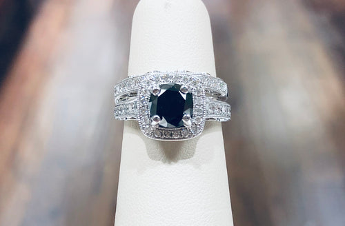 18k Natural Black Diamond Bridal Set - Q&T Jewelry