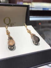 Load image into Gallery viewer, 14k Smoky quartz and diamond dangle earrings - Q&T Jewelry