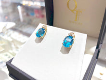 Load image into Gallery viewer, Ladies Blue Topaz Diamond Earrings - Q&T Jewelry