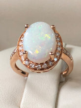 Load image into Gallery viewer, Large opal 14k diamond ring