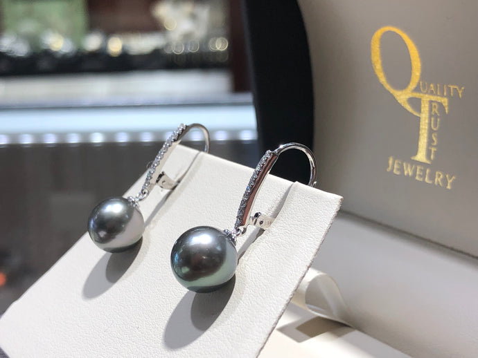 Tahitian Black Pearl & Diamond Earrings - Q&T Jewelry
