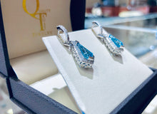 Load image into Gallery viewer, Blue Topaz & Diamond Drop Earrings - Q&T Jewelry