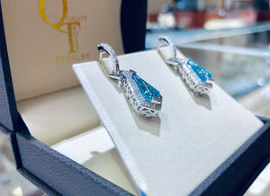 .36CT Diamond & Blue Topaz Drop Earrings - Q&T Jewelry