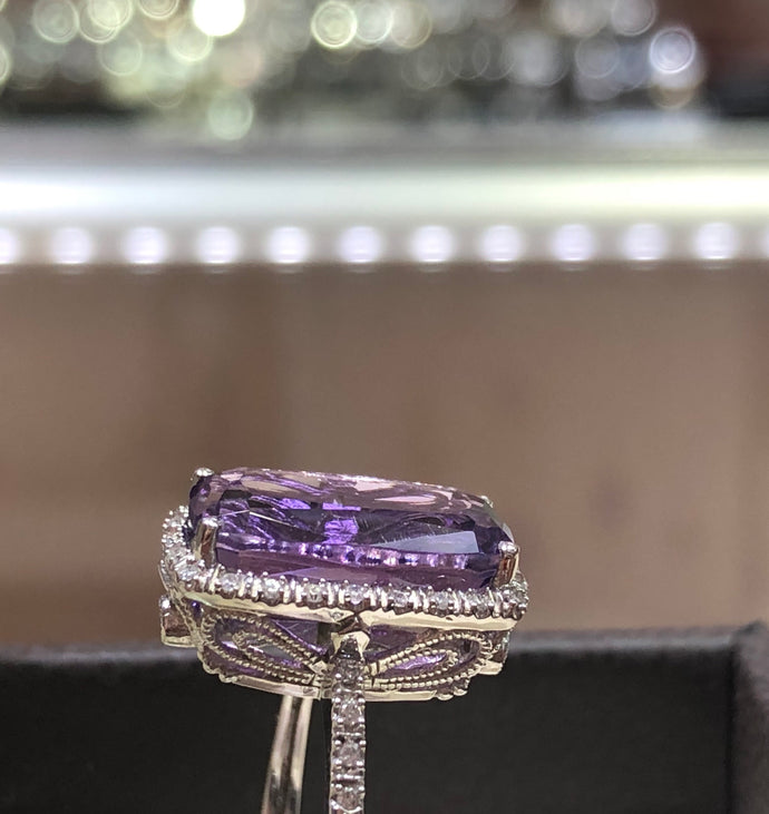 Purple amethyst long ring 14k gold - Q&T Jewelry