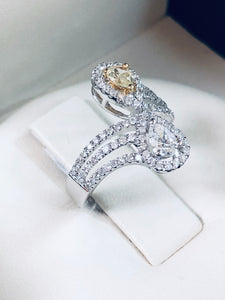 Two-Stone Canary Diamond Anniversary Ring - Q&T Jewelry