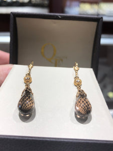 14k Smoky quartz and diamond dangle earrings - Q&T Jewelry