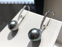 Load image into Gallery viewer, Tahitian Black Pearl & Diamond Earrings - Q&T Jewelry