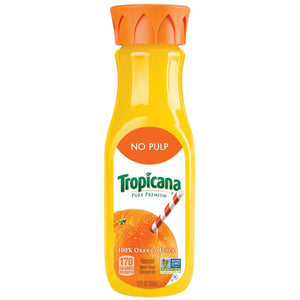Tropicana No Pulp Orange Juice 12oz. Bottle
