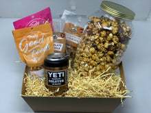 Load image into Gallery viewer, Summer snack gift basket, snack mixes, popcorn jar, pretzels, cashews, yeti 12oz can colster, fathers day gift, thank you gift, summer gifts, stay at home gift, gifts for dad, gift for brothers, gift for guys