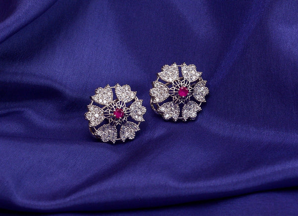 pure silver pink stone flower earrings design