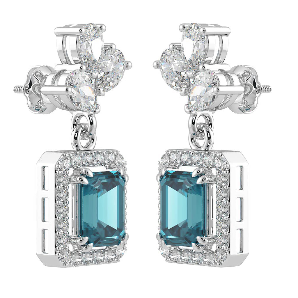 Pure Silver Earrings with Blue Zircon Diamond