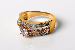 3 Layered Gold Plated Zircon Ring