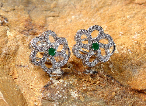 Saqafat Floral Earrings with Green Stone