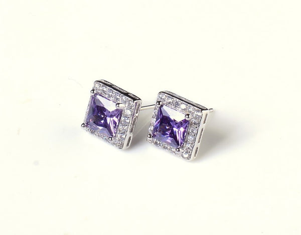 Decadent Square Cut Purple Zircon Earrings