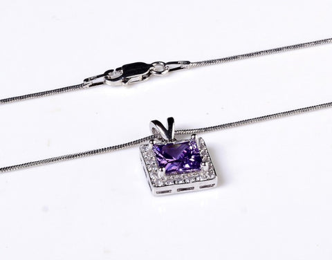 Square Cut Amethyst Zircon Studded Necklace
