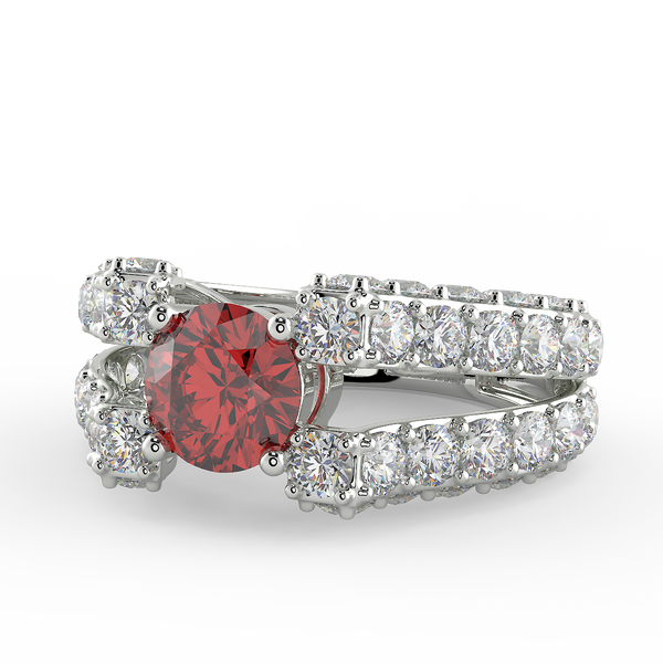 Red Zircon White Studded Ring