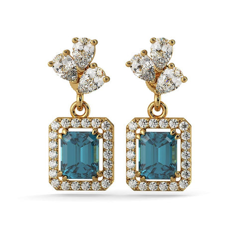 Gold Plated Blue Topaz Earrings